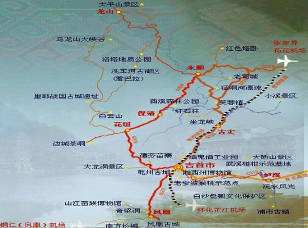 湘西旅游景点分布图 2013最新湘西旅游景点分布图