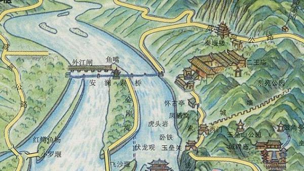 地图,都江堰位置图,都江堰游览图