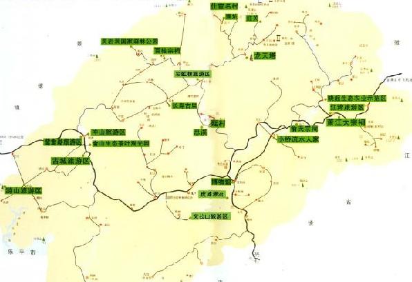 婺源旅游地图 婺源旅游景点分布图