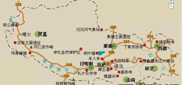 2014年西藏旅游线路图