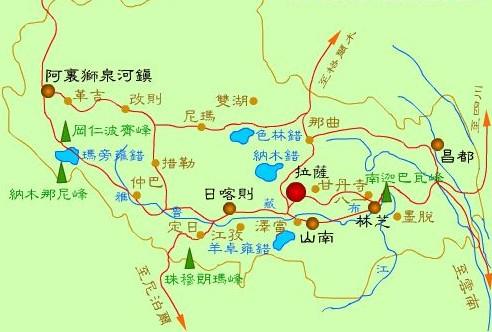 青海到西藏地图