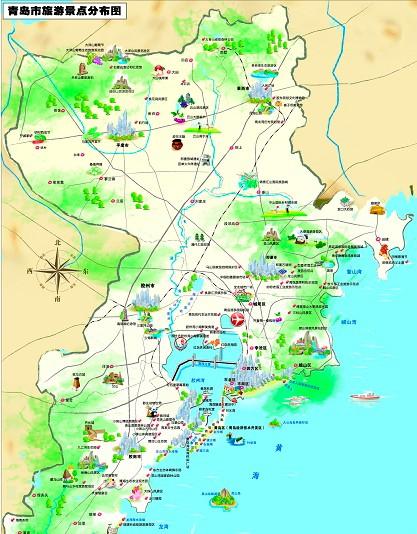 青岛旅游景点地图 青岛旅游景点分布图图片