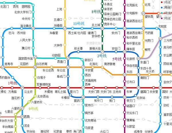 如果是从北京西站乘车,先乘坐9号线地铁到军事博物馆换乘地铁1号线图片