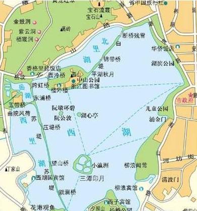 杭州西湖地图 2013杭州西湖旅游地图