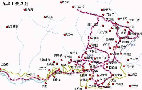 九华山地图 九华山旅游地图 九华山景点地图