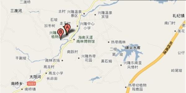 东经一百一十一度十三分的位置,位于海南省万宁市兴隆镇南部223国道.图片