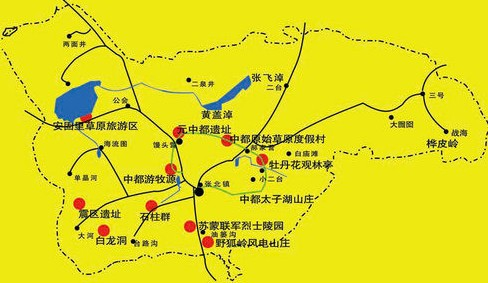 张北草原旅游地图