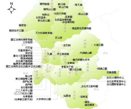 台北地图 台北旅游地图 台北景点地图