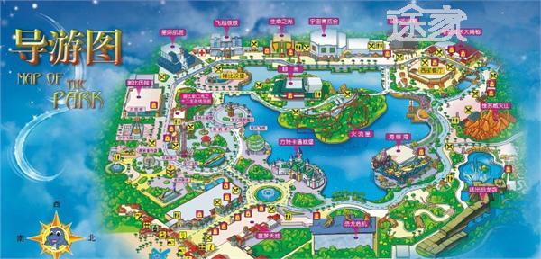 株洲方特欢乐世界导游图 株洲方特欢乐世界旅游地图