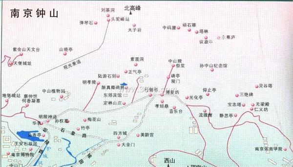 旅游指南  南京旅游指南 明孝陵地图 明孝陵景区地图 明孝陵旅游图