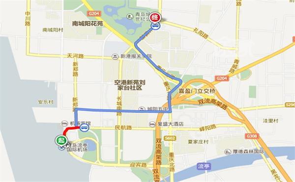 机场到青岛世纪公园路线图图片