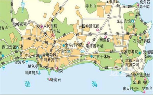 北戴河地图 北戴河旅游地图 北戴河旅游景点地图