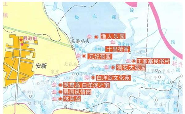白洋淀旅游景点分布图