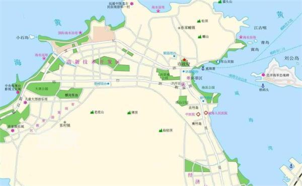 威海地图 威海旅游地图 威海旅游景点分布图图片
