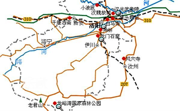 洛阳旅游景点 分布地图_洛阳旅游景点地图