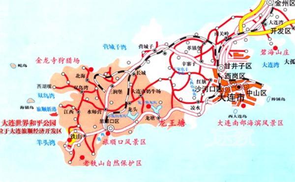 大连地图 大连景点地图