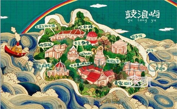 鼓浪屿地图 鼓浪屿景点地图 鼓浪屿手绘地图
